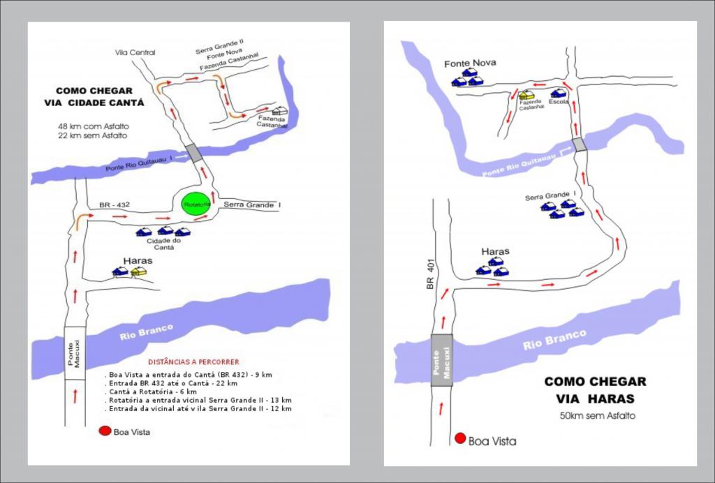 Mapa de acesso fazenda - Turismo em Roraima